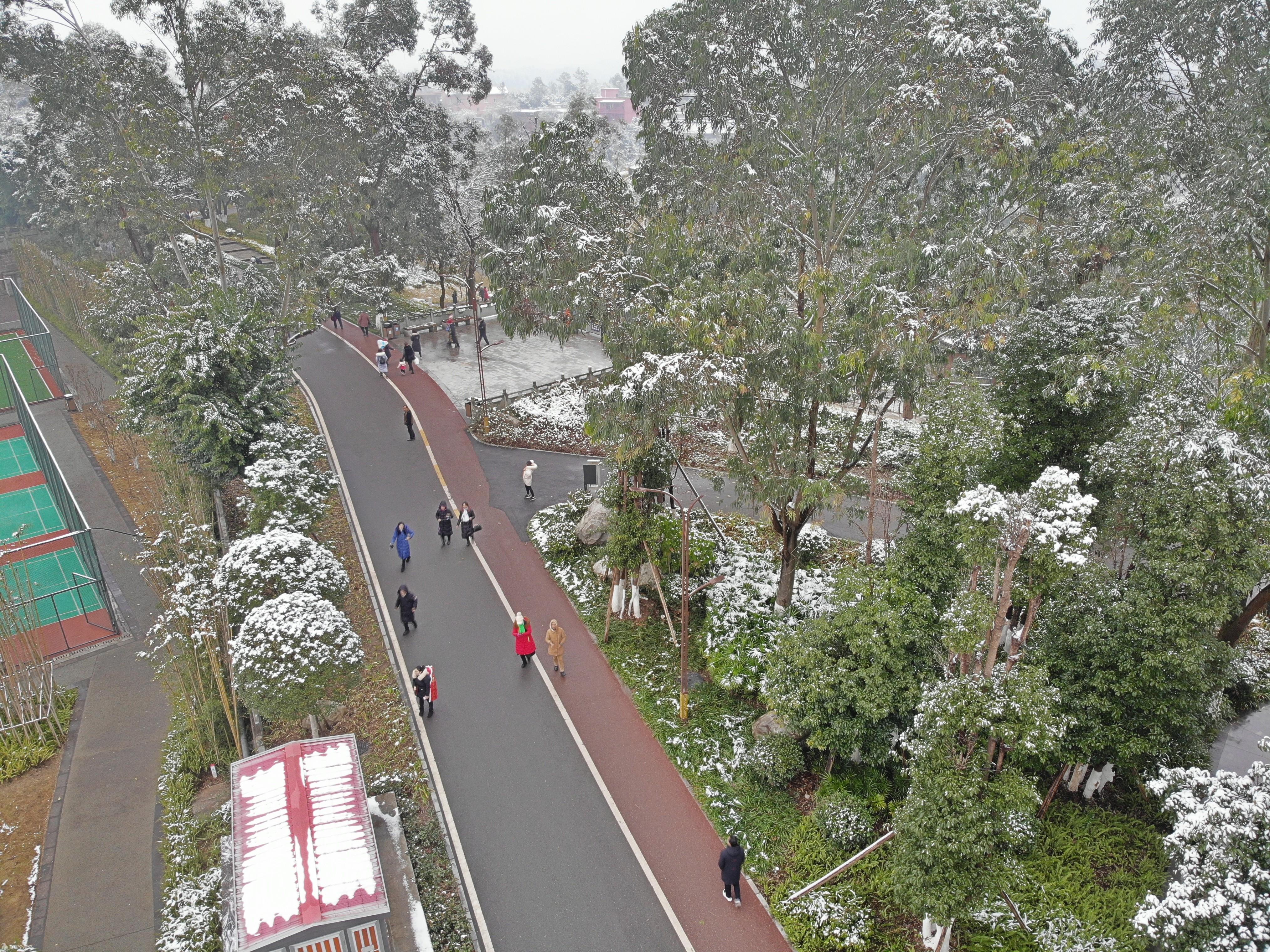 航拍资阳凤岭公园雪景